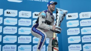 BUENOS AIRES, ARGENTINA - FEBRUARY 06: Sam Bird of DS Virgin Racing Formula E Team celebrates at the podium after winning the Buenos Aires ePrix as part of 2015-2016 FIA Formula E Championship at Puerto Madero Street Race Track on February 06, 2016 in Buenos Aires, Argentina. (Photo by Amilcar Orfali/Getty Images for TAG Heuer)